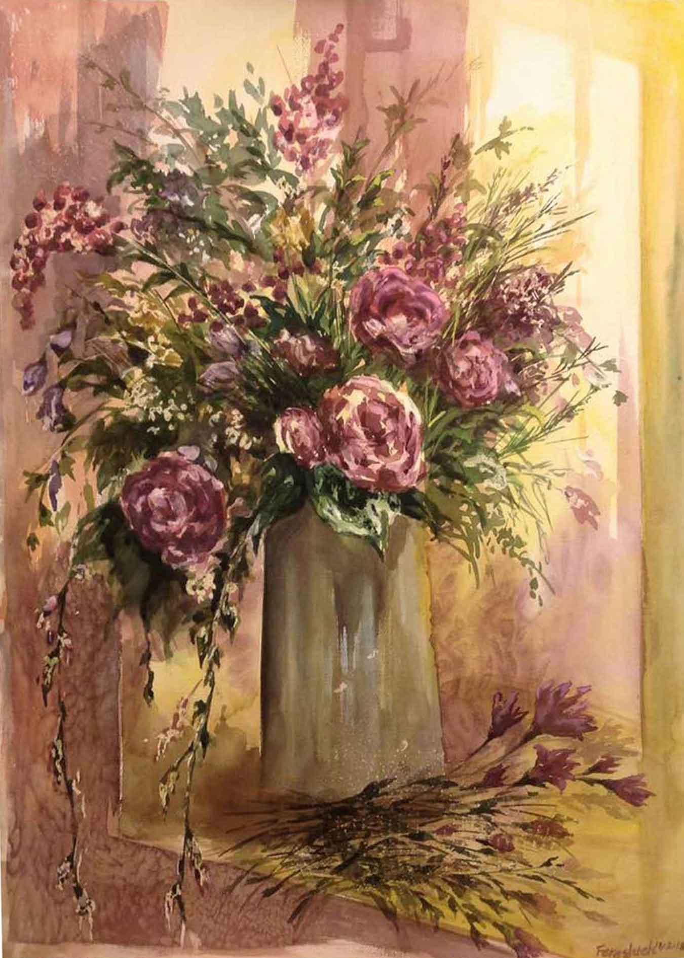 'A Vase of Flowers on Sunrise'