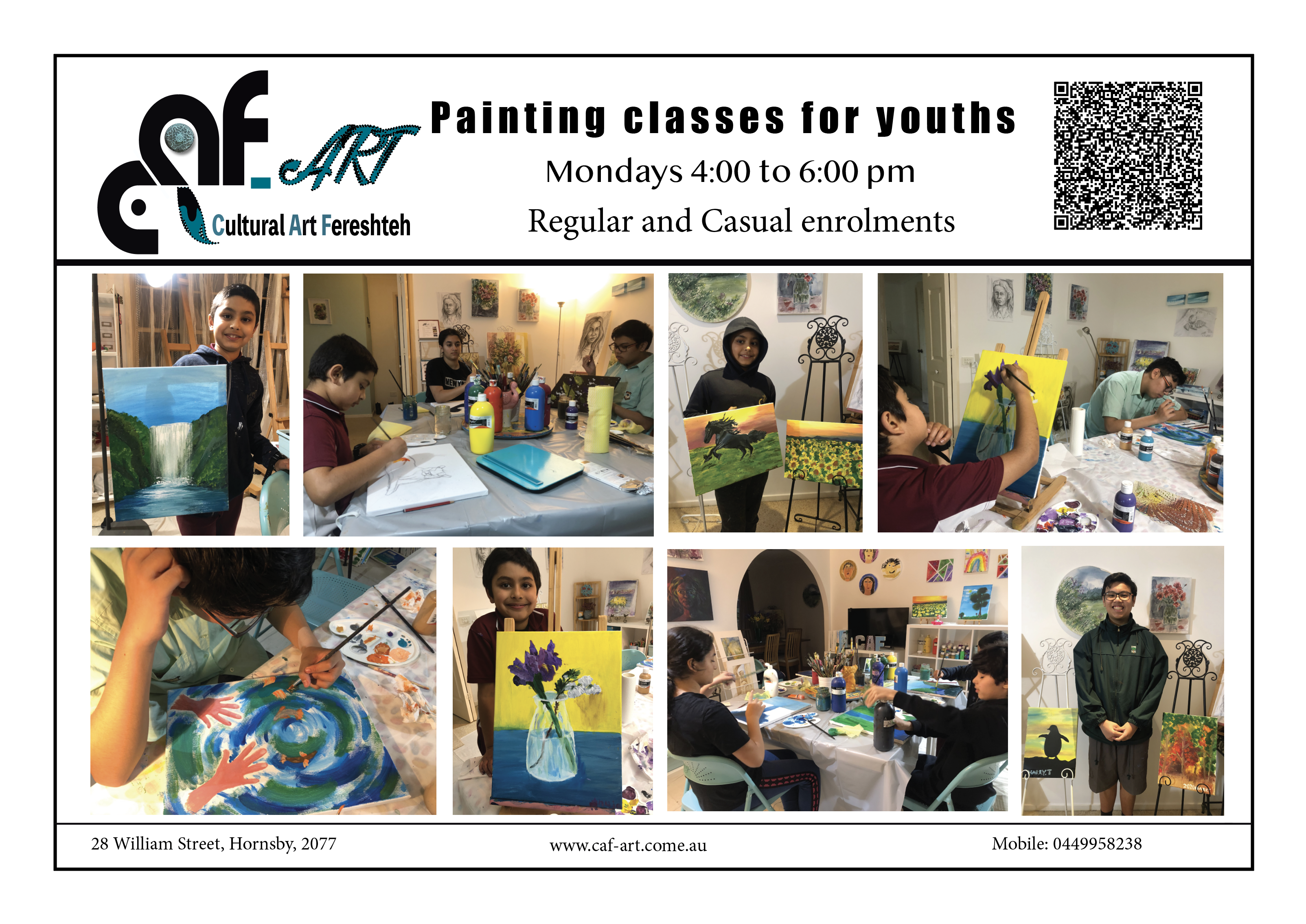 Art Classes for youth 11- 15 yo